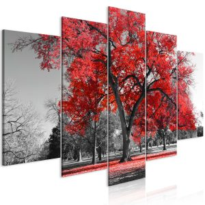Kuva - Autumn in the Park (5 Parts) Wide Red-1