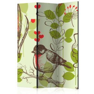 Sermi - Bird and lilies vintage pattern [Room Dividers]-1