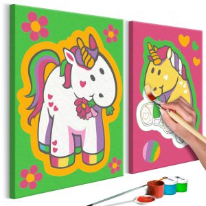DIY kangas maalaus - Unicorns (Green & Pink)-1