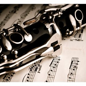 Fototapetti - Clarinet and music notes-2