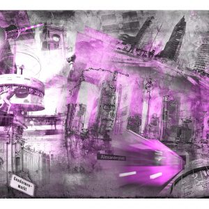 Fototapetti - Berlin - collage (violet)-2