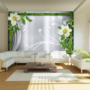 Fototapetti - Bamboo and two orchids-1