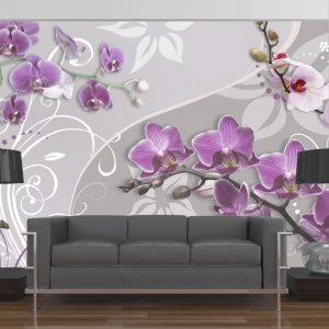 Fototapetti - Flight of purple orchids-1