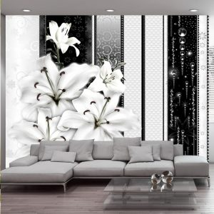 Fototapetti - Crying lilies in white-1
