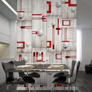 Fototapetti - Concrete, red frames and white knobs-1