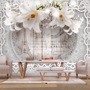 Fototapetti - Lilies and Wooden Background-1