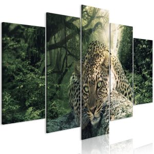 Kuva - Leopard Lying (5 Parts) Wide Pale Green-1