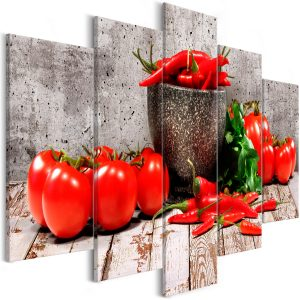 Kuva - Red Vegetables (5 Parts) Concrete Wide-1