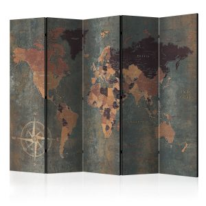Sermi - Room divider – Map in browns and greys-1